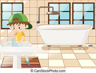 洗手間, 手, 洗滌, 男孩