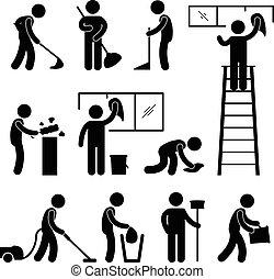 洗滌, 打掃, 吸塵器, 工人