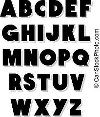 洗禮盆, 字母表, 矢量, type., 大膽
