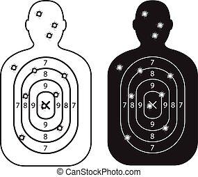 洞, 紙, 子彈, 人, 目標
