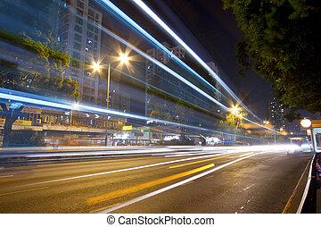 洪, 夜晚, 交通, kong