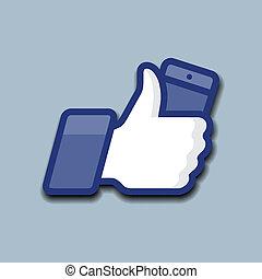 流動, 符號, 向上, 電話, like/thumbs, 圖象
