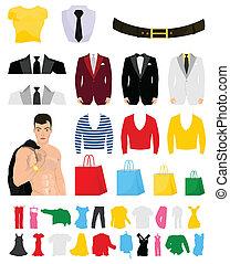 流行, 插圖, 矢量, 彙整, design., 衣服