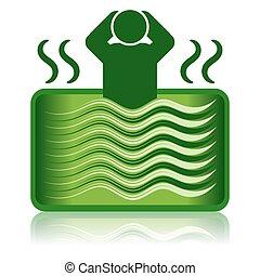 浴缸, 熱的浴盆, 洗澡, 綠色, /, 礦泉