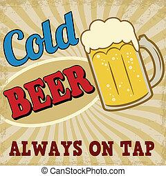 海報, 冷的啤酒, retro