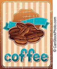 海報, 咖啡豆, retro, style.