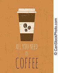 海報, 咖啡, retro