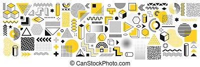 海報, 孟菲斯, 幾何學, 廣告欄, 彙整, 旗幟, 時髦, sale., shapes., 矢量, 集合, 傳單, 元素, halftone, 形狀, retro, 廣告, 設計, 商業, 葡萄酒, 100, 网