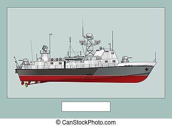 海報, 巡邏, warship., 軍事, 圖像, ship., 詳細
