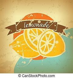 海報, 檸檬水, retro