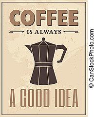 海報, 風格, 咖啡, retro