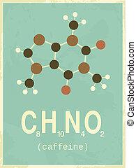 海報, 風格, retro, 咖啡因
