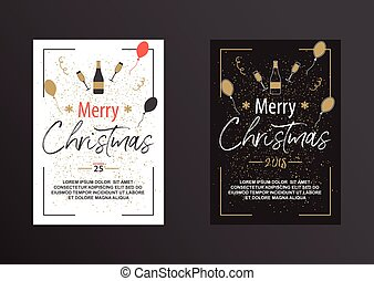 海報, 黑色, white., 聖誕節