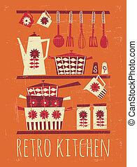 海報, retro, 廚房