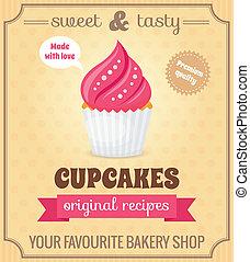 海報, retro, cupcake