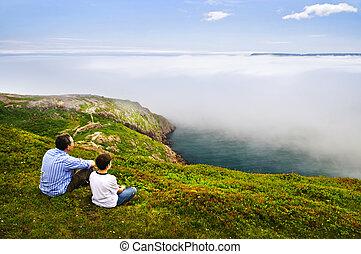 海岸, 父親, 海洋, 兒子