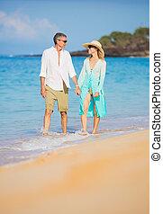海灘, 步行, 夫婦, 浪漫