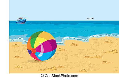 海灘 球, 鮮艷, 船, 大, 海鷗