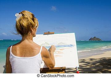 海灘, 畫, 夏威夷, 藝術家