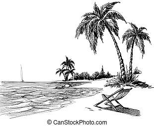 海灘, 鉛筆, 夏天, 圖畫