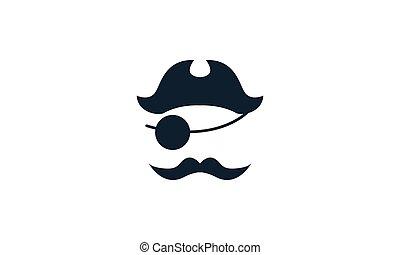 海盜, 矢量, 圖象, 插圖, 黑色半面畫像, 設計, 胡子, 簡單, 標識語