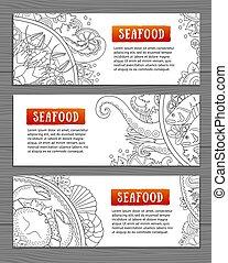 海鮮, banners., 樣板, 水平, 你, design.