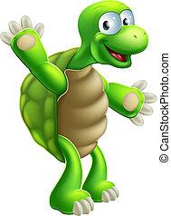 海龜, 招手, 烏龜, 或者, 卡通