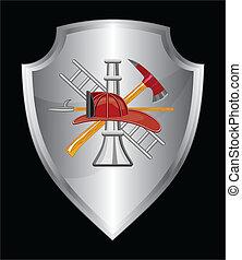 消防人員, 盾, 圖象