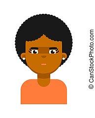 深思, 黑色, avatar, 面部, 女孩, 表示