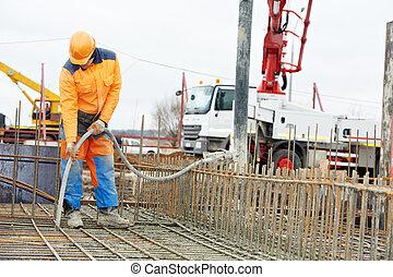 混凝土, 建造者, 工人, 振動, 形式