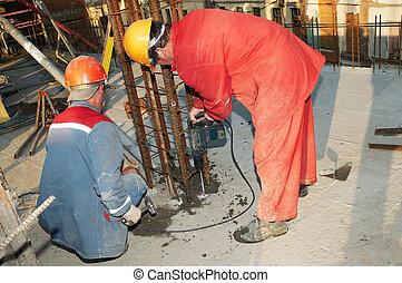 混凝土, 建造者, 工人, 操練, 增強