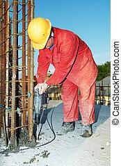 混凝土, 建造者, 工人, formwork