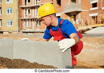 混凝土, 建造者, 路邊鑲邊石, 安裝, 路