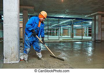 混凝土, screeder, 工人, construction., 地板