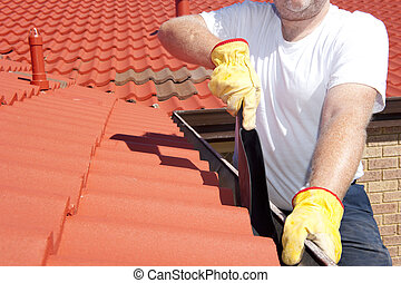 清掃, 屋頂, 季節性, 紅色, 天溝