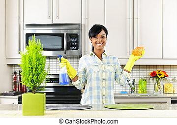 清洁女人, 年輕, 廚房