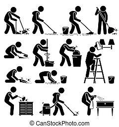 清洁房子, 擦淨劑, 洗滌
