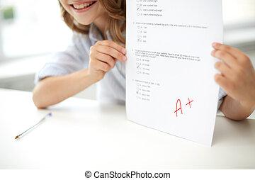 測試, 學校, 紙, 女孩, 愉快