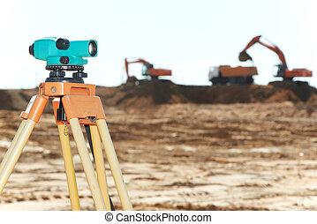 測量員, 設備, 建築工地, 水平