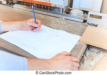 測量, 木頭, 統治者, 木匠, 車間, 成人, 桌子