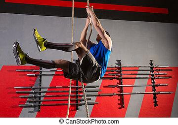 測驗, 繩子, 攀登, 體操, 練習, 人