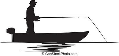 漁夫, 黑色半面畫像, 小船