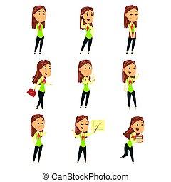 漂亮, 不同, 集合, 鮮艷, 從事工商業的女性, 插圖, poses., 矢量, 字符, 卡通