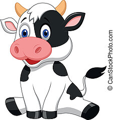 漂亮, 卡通, 母牛, 坐