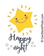 漂亮, 在上方, 夜晚, 喜慶, 問候, 背景, 愉快, 很少, poster., 黨, 卡片, 白色, 星