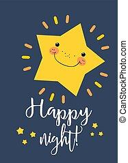 漂亮, 夜晚, 背景。, 問候, 喜慶, 愉快, 很少, poster., 黨, 卡片, 星
