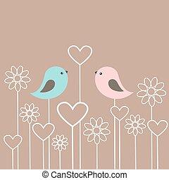 漂亮, 夫婦, 花, 鳥, 心