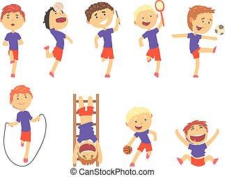 漂亮, 孩子, 鮮艷, set., 運動, 男孩, 活動, 說明, 玩, 卡通, 愉快