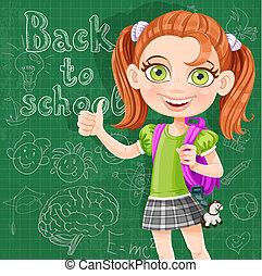 漂亮, 學校, 黑板, -, 背, 女孩