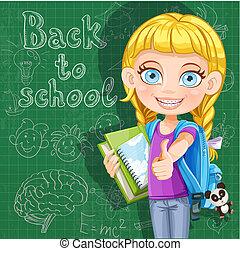 漂亮, 學校, 黑板, -, 背, 書, 女孩